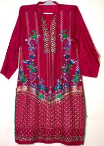 Hot Pink with multicolor- Stylish Embroidered Shirt/Kurta For Women - Stitched