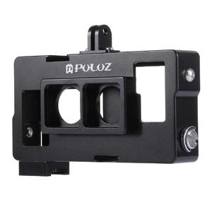 PULUZ 2 in 1 Housing Shell CNC Aluminum Alloy Protective Cage with Lens Frame for GoPro HERO4 /3+(Black)
