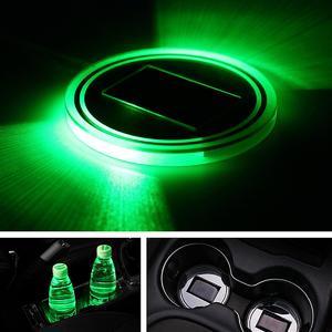 Universal Solar power Cup Holder Bottom Pad LED Light Cover Trim Atmosphere Lamp Light Green