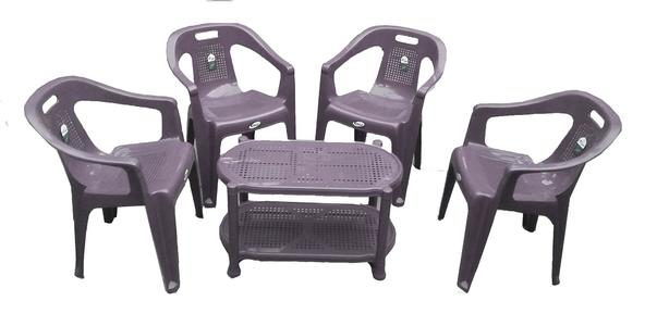 Plastic Chairs CHIEF by Boss Full Plastic Chairs Set of 4 Plastic Chairs and Table- Grey