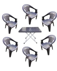 (Boss) Set Of 6 Plastic Chairs And Folding Tab- Grey