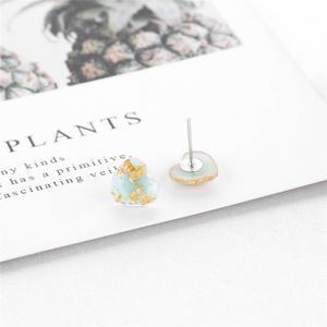 Vktech Gold Foil Resin Stud Earrings Love Heart Drop Ear Rings Jewelry Women Gift