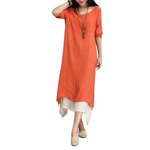 PASSWORD Long Linen Kurti For Women - Peach