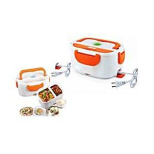 B WHOLE-SELLERElectric Heating Lunch Box - White & Orange