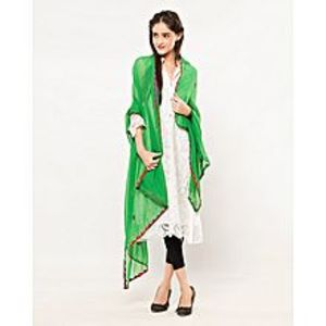 Indusculture Exclusive parrot green Chiffon duppta with multy colour thread hande emberiodery and mirror work with beautifull multy coloure applique work .can use with different coloured shirts