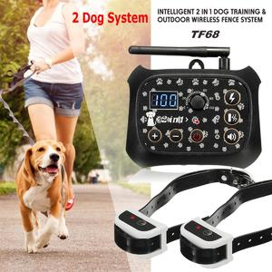Wireless Electric No-Wire Pet Fence Rechargeable 2 Dog System Containment Collar EU Plug