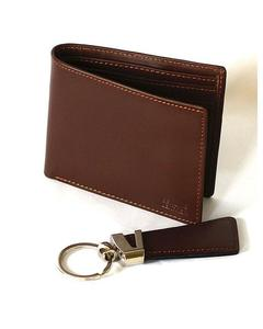 Brown Cow Leather Wallet and Keychain
