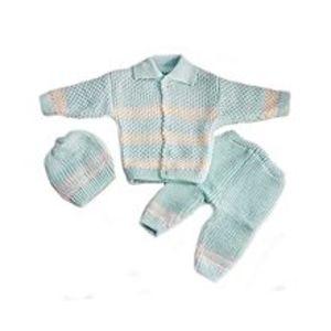 Peekaboo3 Pcs Blue Collar Sweater Set for Newborn