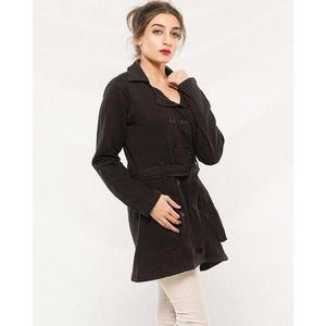Black Cotton Button Style Long Coat With Front Pocket For Women