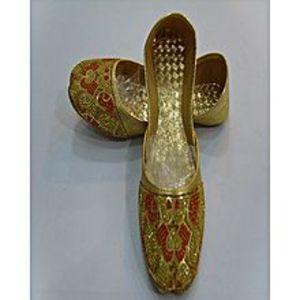 Modern FootwearGolden Multi Beaded Colour Formal Khussa For Women