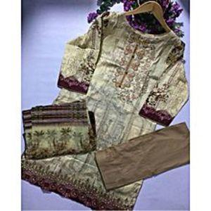 HyperShopCream Brown Floret Lawn Unstitched Suit For Women - 3 Pcs