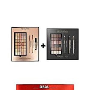Makeup Revolution London Pack of 2 - HD pro eyes and Amplified 35 eyeshadow palette naked golds