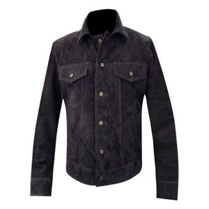l Brown Suede Leather Jacket
