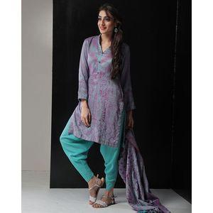 Daraz Unstitched Purple and aqua blue Woolen Pashmina Shawl 3 PC Unstitched Suit