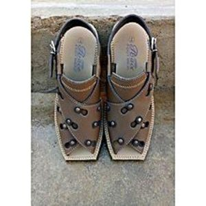Khokhar Stockits Brown Artificial Leather Peshawari Sandals For Men