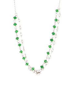 Fashion Inn Attitude Silver & Green Alloy Handmade Stones Necklace For Women - FIA-014 J