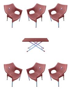 Plastic chair Rattan Chair Stlylish chair Steel legs chair  Boss Chair Pack 0f 6 with  table- Brown