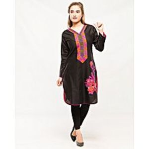 d'Orhni CasualsBlack Stitched Pink Embroidered Kurti For Women
