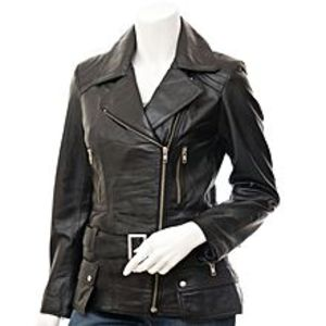 Enson Black Faux Leather Jacket For Women