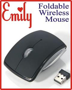 Wireless Laser Folding Mouse (Foldable) - Black