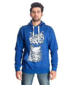 Royal Blue Geek Cat Printed Cotton & Wool Hoodie for Men