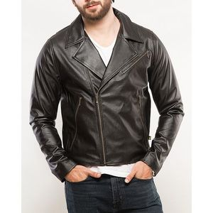 Jet Black Cotton Biker Jacket