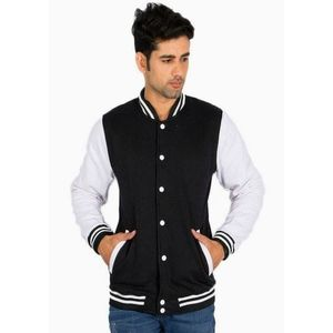 Lunda Bazar Black Fleece Baseball Jacket for Men