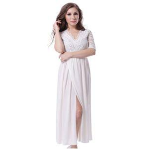 White Polyester + Spandex Maxi Dress For Women