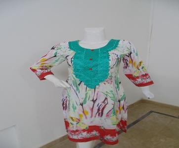 off white Stitched Lawn Kurta For Women