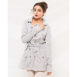 Buysense Hazel Grey Cotton Fleece Winter Western Style Long Coat With Front Pockets For Women