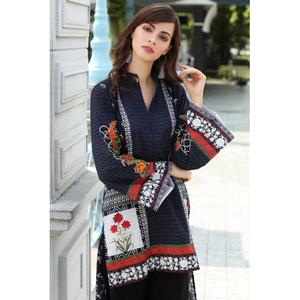 So Kamal Winter Collection  Black Karandi Embroidered 1PC -Unstitched Shirt DPW18 763 EF01278-STD-BLK