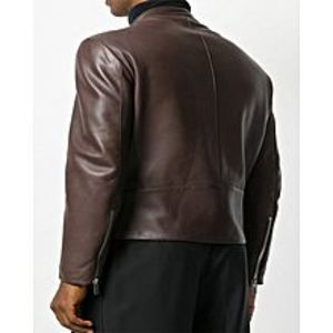 Enson Brown-Faux Leather Maison Margiela X-Man Zipped Jacket-For Men