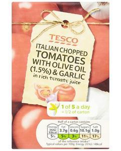 Tesco Italian Chopped Tomatoes Olive Oil And Garlic 390g