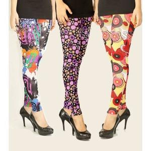 Pack Of 3 Stretchable Printed Imported Tights For Women's