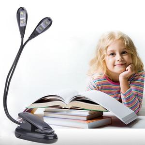 Creative Double Headed LED Clip-on Book Light Adjustable Eye Protection Reading Lamp For Dormitory
