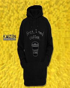 Black First I Need Coffee Print Hoodie for Man