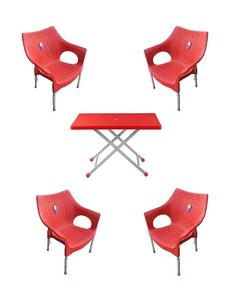 (Boss) Set Of 4 Rattan Plastic Chairs And Plastic Table - Red
