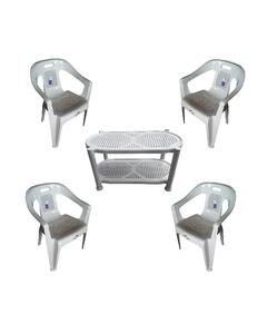 (Boss) Set Of 4 Plastic Chairs And Plastic Table - White