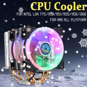 【   Flash Deal】CPU Cooler 4 Heatpipe Twin-Tower LED RGB Fan 90mm for LGA 775/1150-1156/1366 AMD