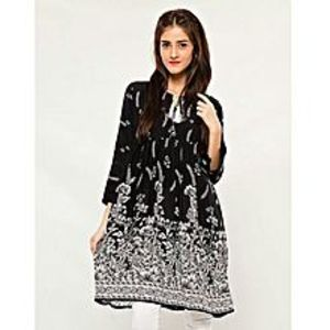 AR Center Printed frock  - Black Print - ARA-TopPr-FrockPrintBl2