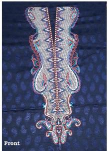 Al-Karam Navy Blue Lawn Embroidered Unstitch Shirt Pc