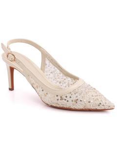 """ELDORA"" Sling Buckle Strap Closed Toe Sequins Designed Net Stiletto Heel Sandals  L31274"