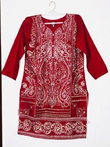 Red with Golden Zari - Stylish Embroidered Shirt/Kurta For Women - Stitched