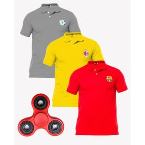 Aybeez Pack of 3 Polo Shirt with Fidget Spinner Stress Reducer Toy - Multicolour