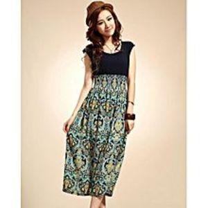 Charji ShopBlue Floral Printed Dress For Women