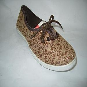 Brown Canvas Slip Ons Shoes For Women