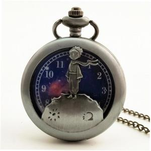 LALA Hollow Out Prince Vintage Antique Round Quartz Pocket Watch Necklace Clock