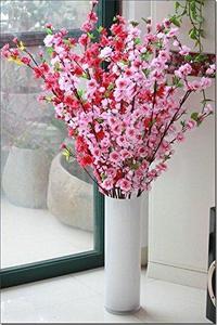 Poplikdfr CYNDIE Wedding Flower 49.22` Artificial Cherry Plum Spring Peach Blossom Spray Branch Silk Flower Tree Red1pc