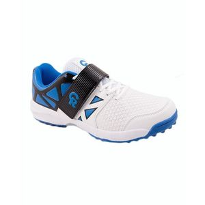 White & Blue CR Synthetic Cricket Sports Shoes for Men