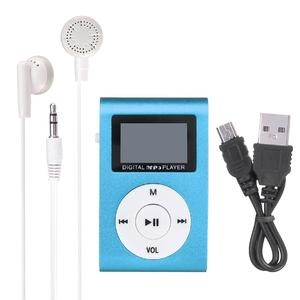Mini Mental USB Music Clip MP3 Player LCD Screen Support 32GB Micro SD TF Card Blue